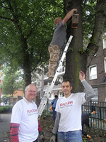 image:Employees of Ricoh Europe installing a bird box.
