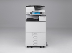 image:Digital full color multifunction printer released in June 2013 RICOH MP C6003/C5503/C4503/C3503/C3003 range also use recycled materials in their scanner covers