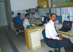 image:India: Lights turned off during the lunch break in the office