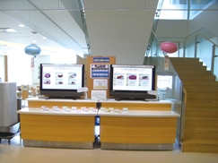 image:Japan: Menu items displayed on electronic screens, rather than using sample dishes, at the office cafeteria. This change aims to reduce the consumption of food resources and costs.